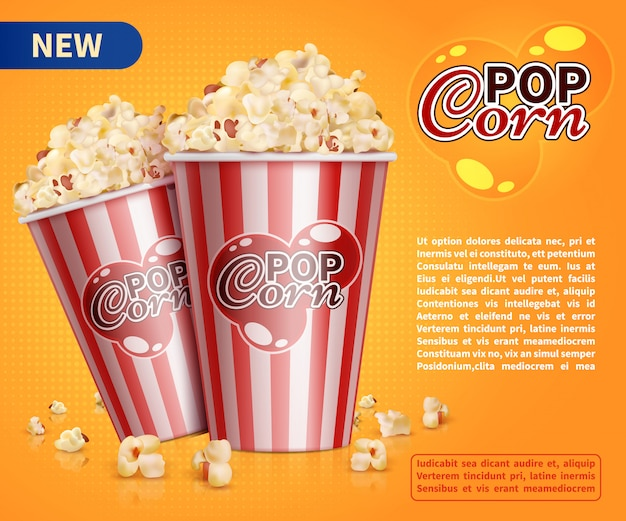 Klassische popcornkinosnacks vector fördernde fahnenschablone