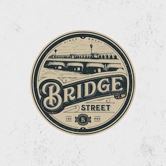 Klassische premium-logo-ideen mit ikonischer brückenhandzeichnung als illustration