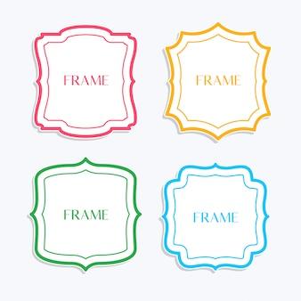 Klassische rahmen in linienart und verschiedenen farben