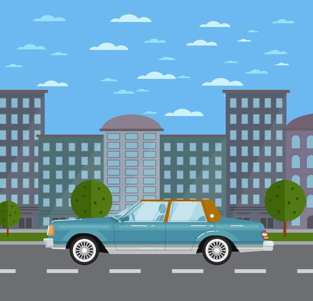 Klassische retro- limousine in der stadtlandschaft