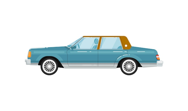 Klassische retro- limousine lokalisierte illustration