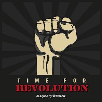 Klassische revolutionskomposition mit erhobener faust