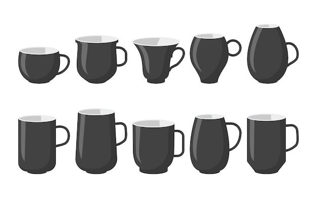 Klassische schwarze kaffeetassen im flachen cartoon-stil