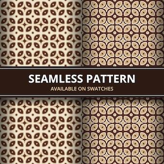 Klassische tapete des traditionellen nahtlosen batikhintergrundhintergrunds. elegante geometrische form. ethnischer luxushintergrund in brauner farbe