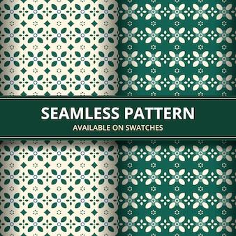 Klassische tapete des traditionellen nahtlosen batikhintergrundhintergrunds. elegante geometrische form. ethnischer luxushintergrund in grüner farbe