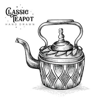 Klassische teekanne hand gezeichnet