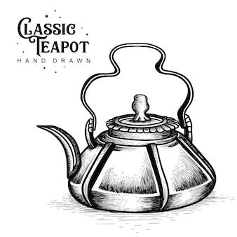 Klassische teekanne im rustikalen stil