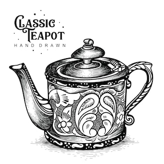 Klassische teekanne im schnitzstil