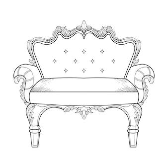 Klassische verzierte couch vektorillustration linie künste