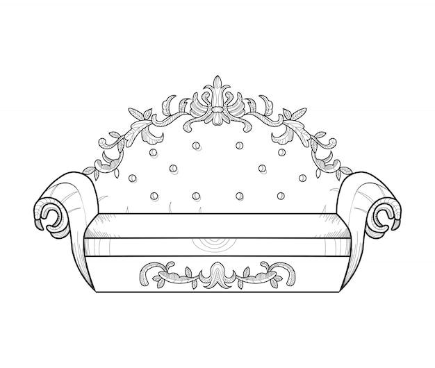 Klassische verzierte couch vektorillustration
