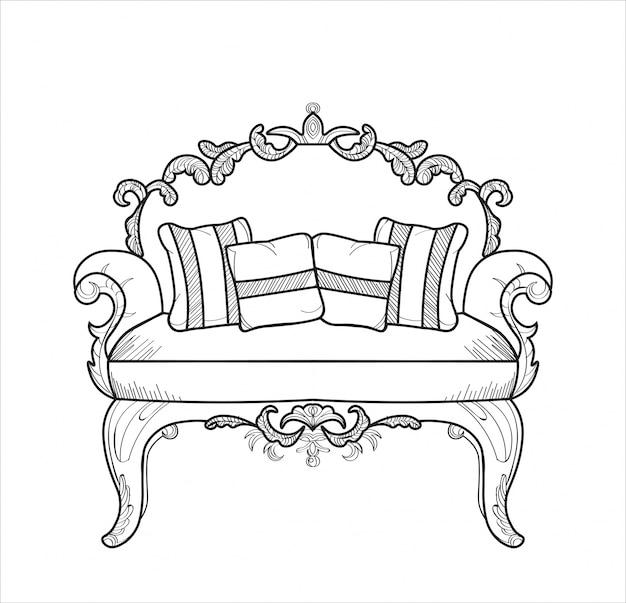 Klassische verzierte couch vektorillustrationslinie kunst