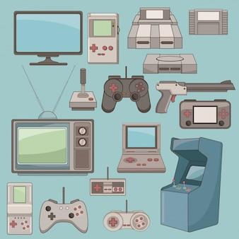 Klassische videospiele und konsolenikonen