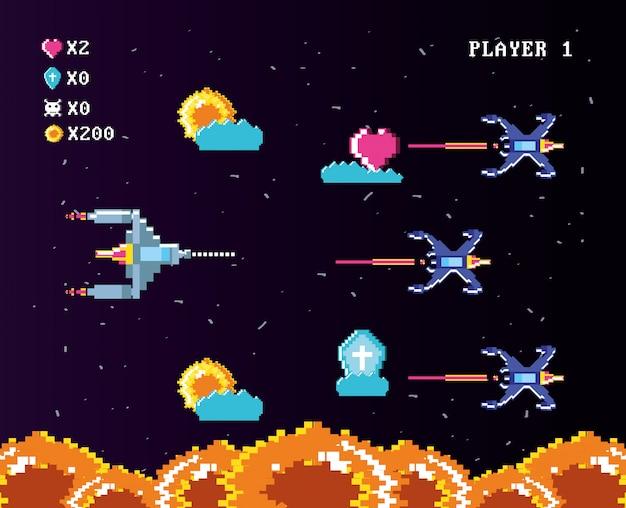 Klassische videospielkonsole von münzen