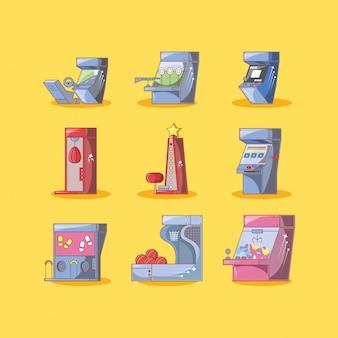 Klassische videospielkonsolen mit unterschiedlichen stilen