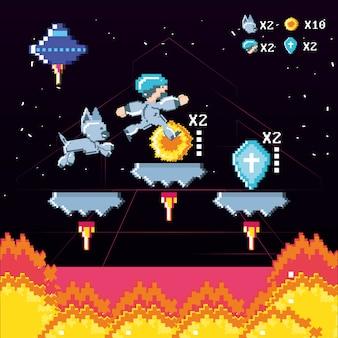 Klassische videospielszene mit krieger und flamme
