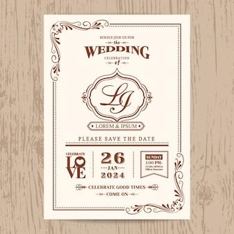 Klassische vintage hochzeitseinladungskarte mit brauner farbe grenze und rahmen