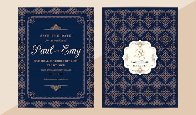 Klassische vintage hochzeitseinladungskarte mit elegantem muster