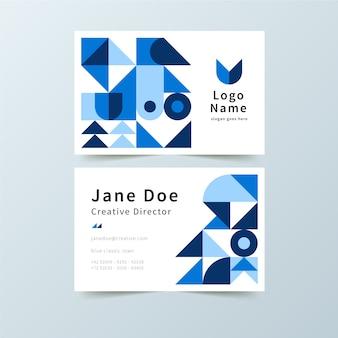 Klassische visitenkarte mit blauen formen