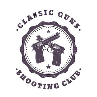 Klassische waffen, vintage-druck, zwei gekreuzte pistolen auf weiß