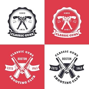 Klassische waffen, vintage-embleme, abzeichen mit gekreuzten revolvern