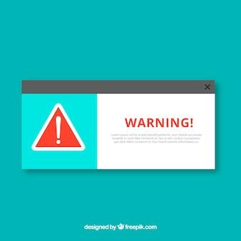 Klassische warnung pop-up mit flachem design