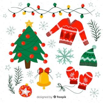 Klassische weihnachtselementsammlung mit flachem design