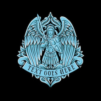 Klassische weinleseillustration des flügelkriegers des blauen engels