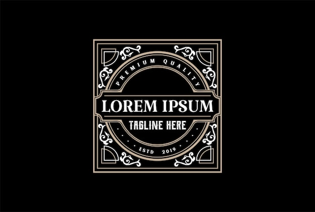 Klassischer alter retro-vintage-luxus-goldener rand-label-logo-design-vektor