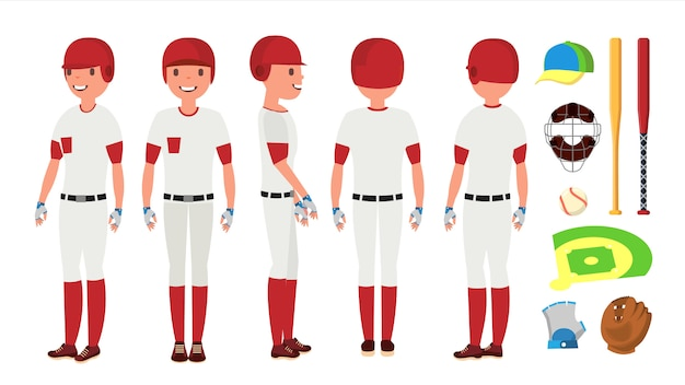 Klassischer baseball-spieler-vektor. klassische uniform. verschiedene aktionshaltungen. flache zeichentrickfigur