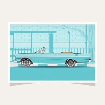Klassischer blauer auto-begriffsentwurfs-flacher illustrations-vektor