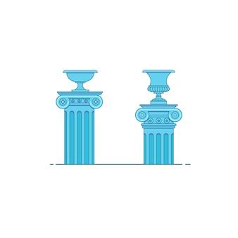 Klassischer colomns der griechischen und römischen architektur