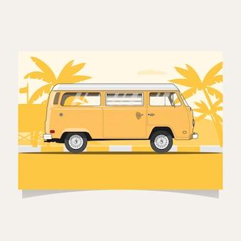 Klassischer gelber van flat illustration