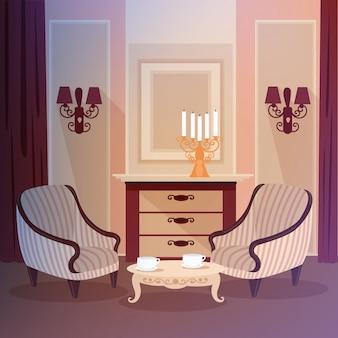 Klassischer hauptinnenraum des wohnzimmers mit einem kerzenständer und weinlesemöbeln