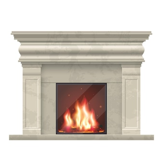 Klassischer kamin für wohnzimmer interieur. kamin für wohnraum, illustration komfort kamin