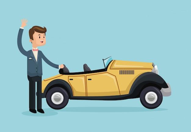 Klassischer karikaturjungenmann des autos retten die datumshochzeitsikone