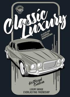 Klassischer luxus, illustration eines klassischen rennwagens
