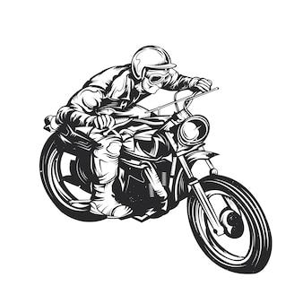 Klassischer mann auf motorrad