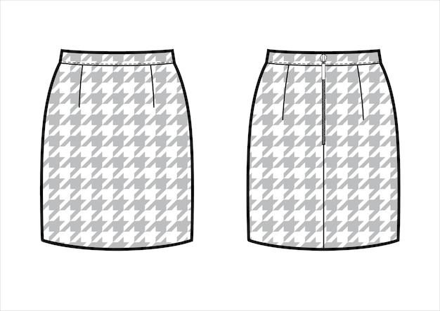 Klassischer mini-bleistiftrock mit hahnentritt-muster. hinten und vorne. technische flache skizze, vektor.