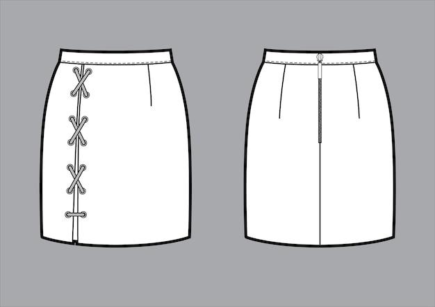 Klassischer mini-bleistiftrock mit schnürung hinten reißverschluss hinten und vorne
