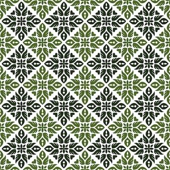 Klassischer nahtloser batikmusterhintergrund. luxus blatt mandala tapete. elegantes traditionelles blumenmotiv
