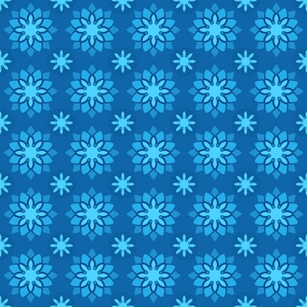 Klassischer nahtloser batikmusterhintergrund. luxus geometrische mandala tapete. elegantes traditionelles blumenmotiv in blauer farbe