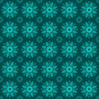 Klassischer nahtloser batikmusterhintergrund. luxus geometrische mandala tapete. elegantes traditionelles blumenmotiv in grüner farbe