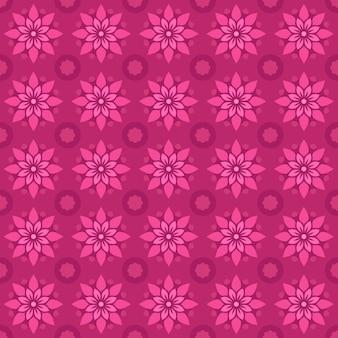 Klassischer nahtloser batikmusterhintergrund. luxus geometrische mandala tapete. elegantes traditionelles blumenmotiv in rosa farbe