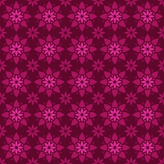Klassischer nahtloser batikmusterhintergrund. luxus geometrische mandala tapete. elegantes traditionelles blumenmotiv in rosa magentafarbe