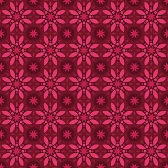 Klassischer nahtloser batikmusterhintergrund. luxus geometrische mandala tapete. elegantes traditionelles blumenmotiv in rot-kastanienbrauner burgunderfarbe