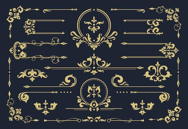 Klassischer ornamentrahmen, weinleserandillustration