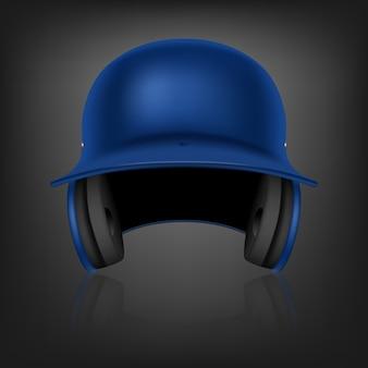 Klassischer realistischer blauer baseballhelm mit reflexion auf schwarzem hintergrund. vorderansicht. illustration.