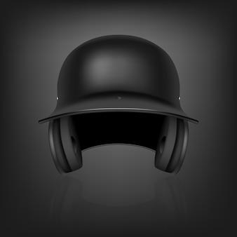 Klassischer realistischer schwarzer baseballhelm mit reflexion auf schwarzem hintergrund. vorderansicht. illustration.