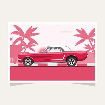 Klassischer roter auto-begriffsentwurfs-flacher illustrations-vektor