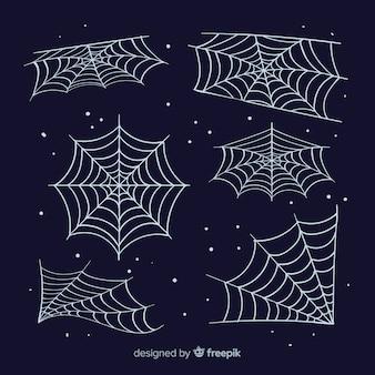 Klassischer satz halloween-spinnennetze